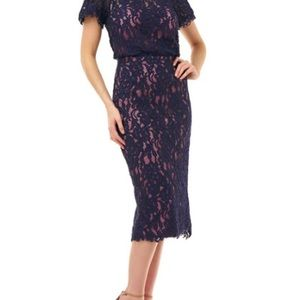 Two Tone MIDI Dress in Navy and Rose